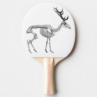 Spooky vintage skeleton reindeer drawing ping pong paddle