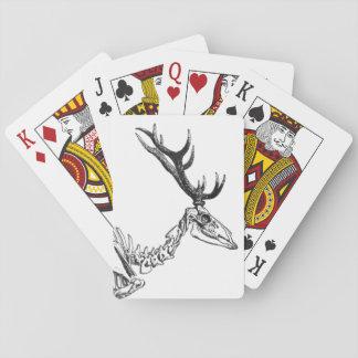 Spooky vintage skeleton reindeer drawing playing cards