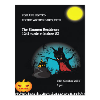 spooky wicked halloween party invitation card