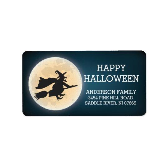 Spooky Witch Happy Halloween Return Address Label