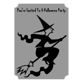spooky witch on broomstick halloween party invite