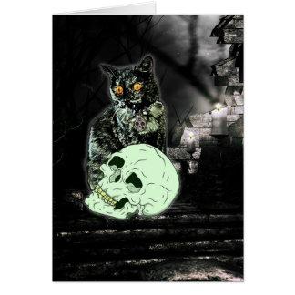 Spooky Zombie Cat Halloween Card