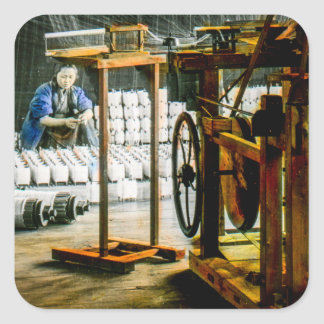Spools of Silk in Factory Old Japan Vintage Square Sticker