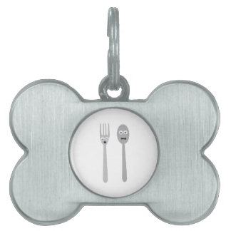 Spoon and Fork Kawaii Zqdn9 Pet Name Tag