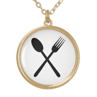 Spoon and Fork Set Crossed Foodie Love Cutlery Art Gold Plated Necklace