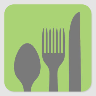 Spoon Knife Fork Graphic Square Sticker