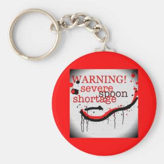 Spoon shortage warning keyring basic round button key ring
