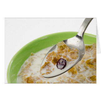 Spoonful of cereal with milk card