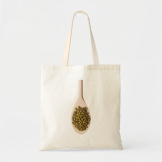 Spoonful of mung beans tote bags