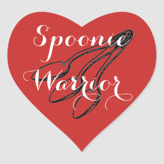 Spoonie Warrior - Bright Red Heart Sticker