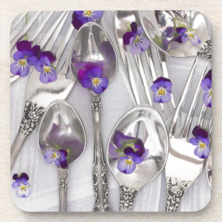 spoons and forks with violets coaster