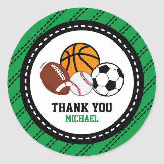 Sport All Star Party Thank You Favor Tag Round Sticker
