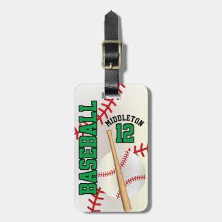 Sport Baseball | DIY Text - Green Luggage Tag