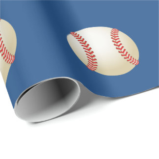 Sport Baseball Theme Navy Blue Wrapping Paper