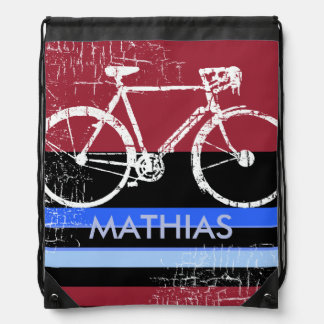 sport bike with custom name drawstring bag