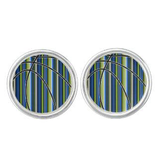 Sport Blue Green Stripe Basketball Cufflinks