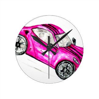 Sport Car Sketch2 Round Clock