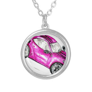 Sport Car Sketch2 Silver Plated Necklace
