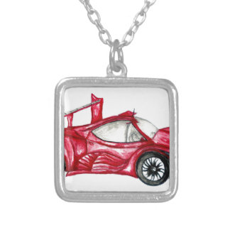 Sport Car Sketch Silver Plated Necklace