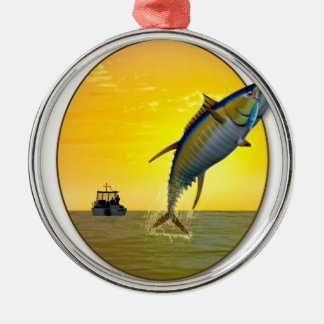 Sport Fishing at Dawn Metal Ornament