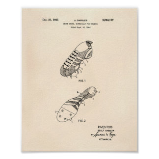Sport Shoe Runner 1965 Patent Art Old Peper Poster