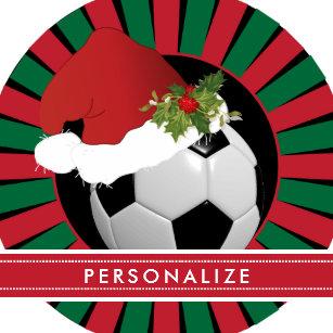 49ce1382371c6 Sport Soccer Christmas Santa Hat Ceramic Ornament