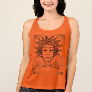 Sport Tank with Transparent Drawing of Fairy Face