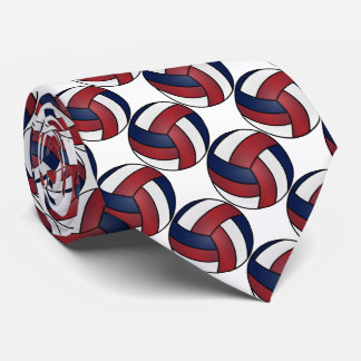 Sport White, Dark Red and Dark Blue Volleyball Tie