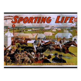 Sporting Life, 'Lady Luck Wins the Derby' Vintage Postcard