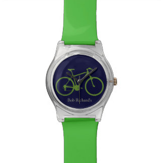 sportive green bicycle watch