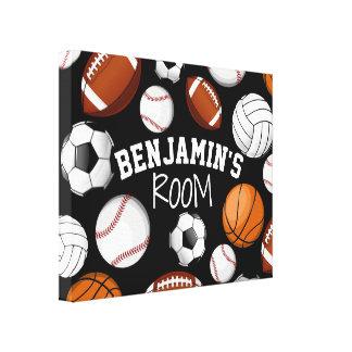 Sports All STAR Custom Name Bedroom Black Canvas Print