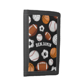 Sports All STAR Personalized Name Black Trifold Wallet