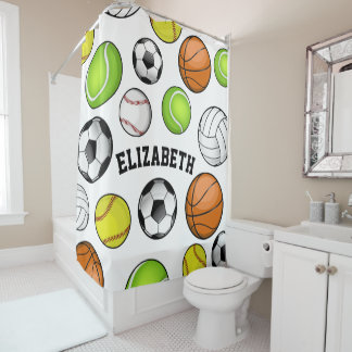 Sports All STAR Personalized Name Girl's Shower Curtain
