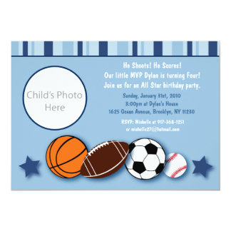 Sports All Star Photo Birthday Invitations
