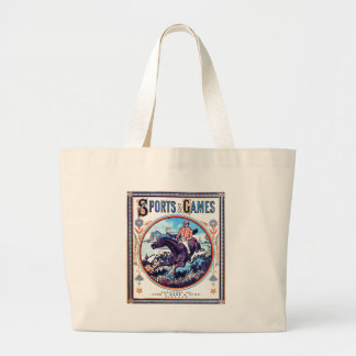 Sports and Games Hunting Vintage Book Cover Jumbo Tote Bag