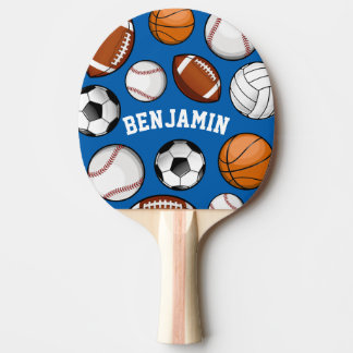 Sports Assortment Personalized Name Blue Ping Pong Paddle