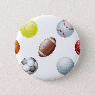 Sports balls 6 cm round badge