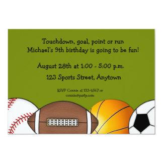 "Sports Balls Border Invitation 5"" X 7"" Invitation Card"