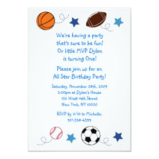 Sports Balls MVP All Star Birthday Invitations