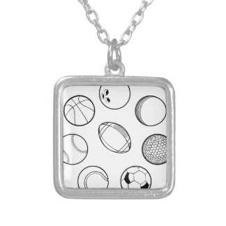 Sports Balls Set Silver Plated Necklace