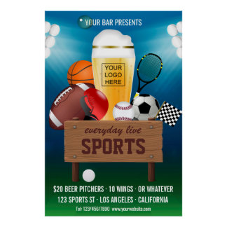 Sports Bar Event Promo add logo Advert Poster
