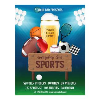 Sports Bar Event Promo Menu add photo and logo