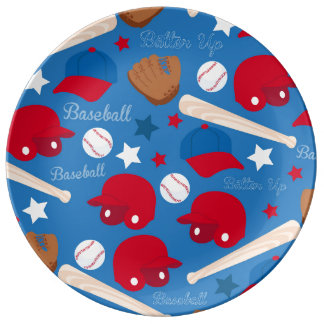 SPORTS Baseball Bat Glove Fun Colorful Pattern Porcelain Plates