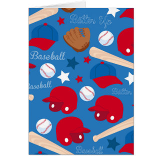 SPORTS Baseball Glove Bat Fun Colorful Pattern Greeting Card