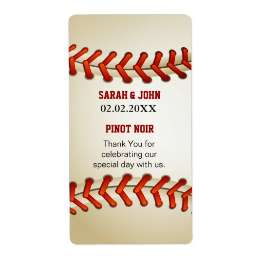 Sports  Baseball theme Personalised Wine label Shipping Label