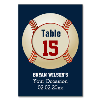 Sports Baseball theme Personalized table numbers Table Cards