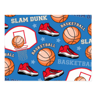 SPORTS Basketball Slam Dunk Fun Athlete Pattern Postcard