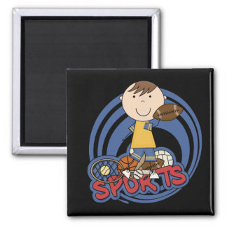 Sports Boy Football Tshirts and Gifts Square Magnet