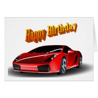 Sports Car Happy Birthday Card