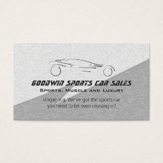 Sports Car Sales - faux metal, silver sportscar Business Card
